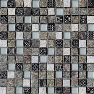 Mosaik Fliese Keramik St/äbchen Steinoptik grau Wandfliesen Badfliese MOS24-STSO23